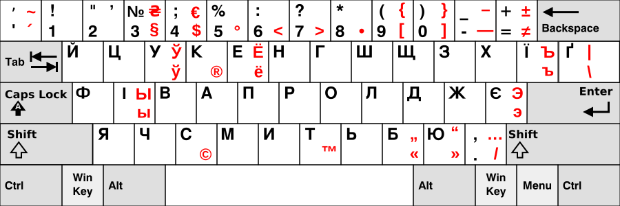 This keyboard layout is mostly the same as the previous one. However, the first key in the first row doesn't have hryvnia sing. Instead, it has a curved, typographically-correct form of apostrophe if you press it with shift. Also, additional letters are available on AltGr: AltGr+apostrophe gives a stress mark over the previous vowel, AltGr+shift+apostrophe gives a tilde. AltGr+3 gives a paragraph mark, AltGr+Shift+3 gives a hryvnia  sign. AltGr+4 is a dollar sign, AltGr+Shift+4 is euro sign, AltGr+5 is a degree symbol, AltGr+6 is a 'less than' mark, AltGr+7 is a 'greater than' mark, AltGr+8 is a bullet, AltGr+9 and AltGr+0 are opening and closing square brackets, and Shift+AltGr+9 and Shift+AltGr+0 are curved braces respectively. AltGr+hyphen is a dash, and Shift+AltGr+hyphen is a minus sign. AltGr+equals is 'not equals' sign, and Shift+AltGr+equals is 'plus or minus' sign. AltGr+У gives a Belarusian short U (ў) letter, У with a lower semicircle above it. AltGr+К gives a 'record label' mark. AltGr+Е gives a russian Ё, Е with dots above it. AltGr+Ї gives a russian hard sign. AltGr+Ґ gives a pipe, AltGr+Shift+Ґ gives a reversed slash. AltGr+І gives a russian ы, which looks like a soft sign with і near it. AltGr+є gives Russian э, reversed є. AltGr+С gives a copyright symbol. AltGr+T gives a trademark symbol. AltGr+Б and AltGr+Ю give a typographically-correct opening and closing quotation marks, and AltGr+Shift+Б and AltGr+Shift+Ю give alternative opening and closing quotation marks preferred in italic. AltGr+full stop gives a slash, and Shift+AltGr+full stop is an ellipsis, looking like three dots.